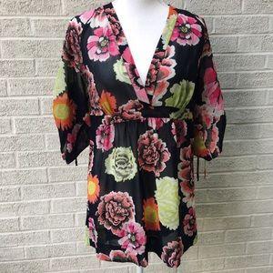 CAbi Sheer Floral V-Neck Tunic Size Medium